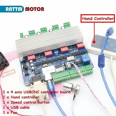 4 Axis Nema23 Stepper Motor Driver USB CNC Board TB6560 Card + Remote Controller