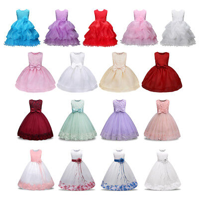 AU Flower Bow Girl Princess Dress Kids Party Wedding Pageant Formal Tutu Dresses