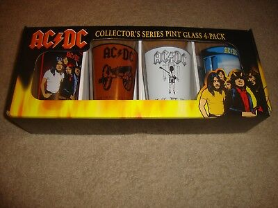 AC/DC Collector's Series Pint Glass 4 Pack Classic Rock & FREE SHIPPING