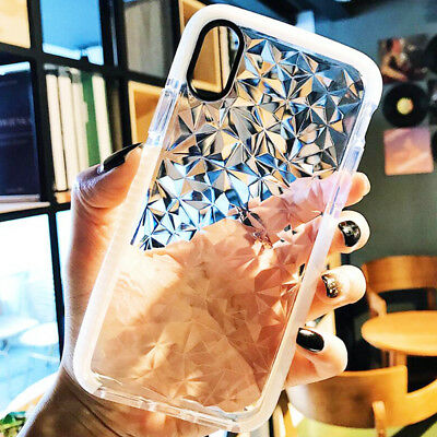 3D Shining Diamond Clear Soft Shockproof TPU Case Cover For iPhone X 8 7 6S Plus