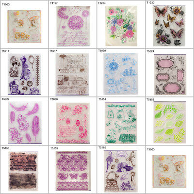 DIY Silicone Clear Flower Stamp Cling Seal Scrapbook Embossing Album Color Decor
