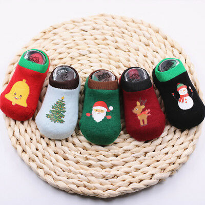 Christmas Baby Girl Boy Anti-slip Socks Cartoon Newborn Slipper Shoes 1-3T
