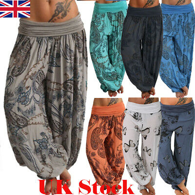 Plus Womens Loose Harem Pants Leggings Ladies Baggy Aladdin Boho Hippy Trousers