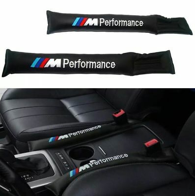 2Pcs Car Seat Gap Filler Black PU Leather Accessory Cover Spacer For BMW