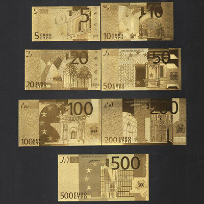 Euro Banknote Gold Foil Paper Money Crafts Collection Bank Note Currency Set