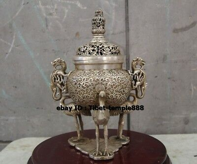 26 CM Chinese bronze Silver-gilt Dragon red-crowned crane Incense Burners Censer