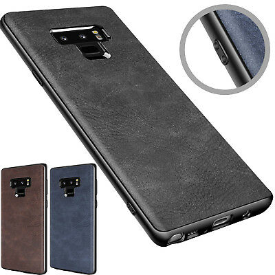 For Samsung Galaxy Note S9 S8 Plus PU Leather Slim Back Protect Skin Case Cover