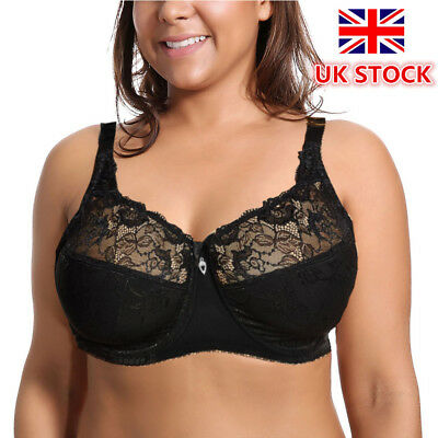 Lace Underwired Bra Full Cup Soft Non Padded Sheer Balcony Sexy Lingerie D E F G