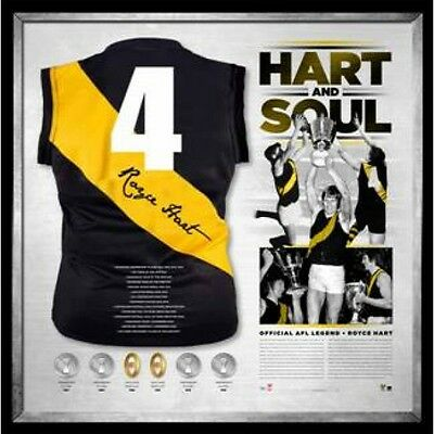 """""""hart And Soul"""" Hand Signed Framed Jersey Martin Hart Richmond Tigers Afl"""