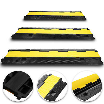 3pcs 2-Cable Rubber Electrical Wire Cover Ramp Warehouse Cable Cord Protector