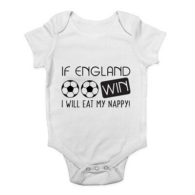 If England Win I will Eat my Nappy Boys Girls Bodysuit Funny Vest Baby Grow