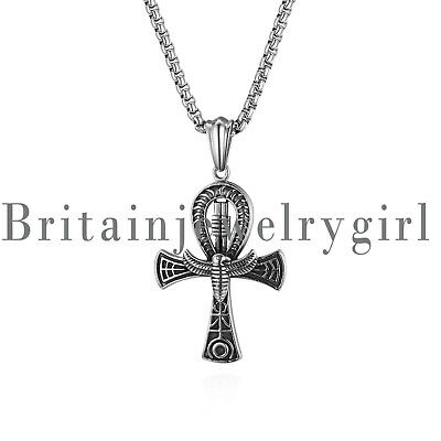 """Vintage Egyptian Micro Breath of Life Ankh Pendant Stainless Steel Necklace 22"""""""