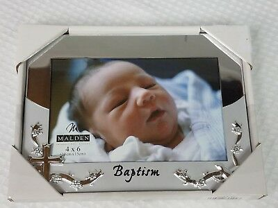 Malden Designs Picture Frame Baby Baptism Silver Plated Two-Tone 4x6 Photo D050