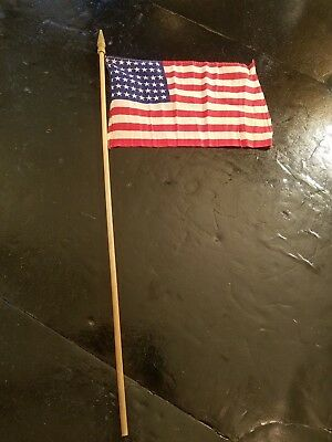 """US 48 Star 11"""" x 7-1/4"""" Parade Flag Double Side American Flag Wooden Handle"""