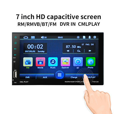 "2 DIN 7"" Car Stereo Radio Capacitive Screen AUX Bluetooth In Dash MP5 Player B2"