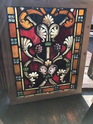 SG 2449 antique painted and fired Stainglass window 28.25 x 34.25
