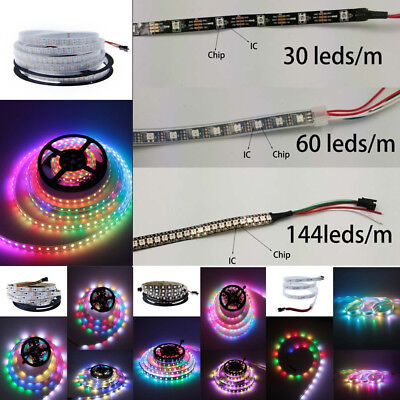 5V WS2812B 5050 RGB LED Strip 30/60/144 LEDs/M ws2812 IC Individual Addressable