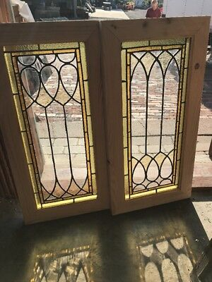 SG 2453 match Pair antique stained and leaded glass windows 14.25 x 28.25