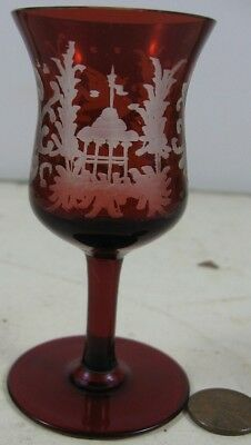 Nice Antique Red Cranberry Glass Cordial Shot Glass