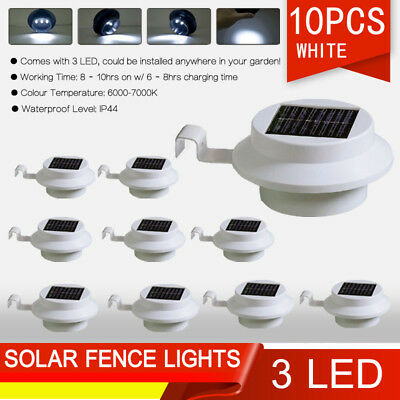 10X3 LED Solar Powered Gutter Fence Lights Outdoor Garden Yard Wall Pathway Lamp