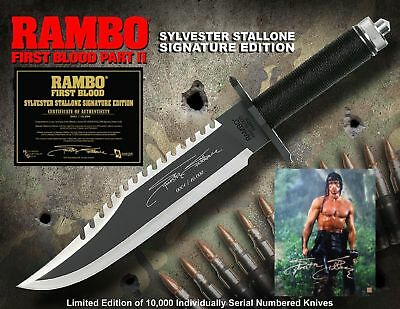 """RAMBO 2 Messer First Blood Part II Knife """"Sylvester Stallone Signature Edition"""""""