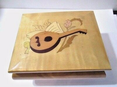 Vintage Music Box Inlaid Wood Guitar Ring Box Usa Waltz Of The Flowers Capra