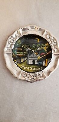 Honduras souvenir pewter plate  hand painted village or town scene  wall plaque