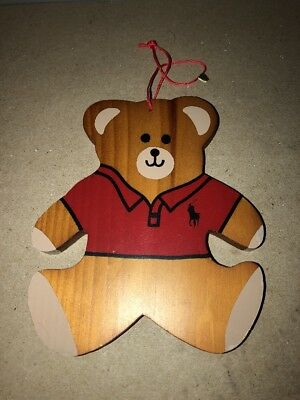 Ralph Lauren POLO BEAR Wood Xmas Christmas Ornament 1990s RARE VINTAGE