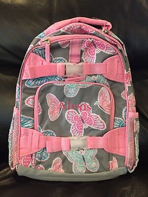 d1036cca01fc NEW Pottery Barn Kids Mackenzie Gray Pink Butterfly Small Backpack Mono   Alexis