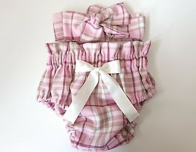 Beautiful Pink Tartan Print Baby's Bloomer and Head wrap set girls clothes New