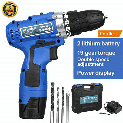 12V Cordless Drill Driver 2-Speed Electric LED Screwdriver+2 Lithium-Ion Battery
