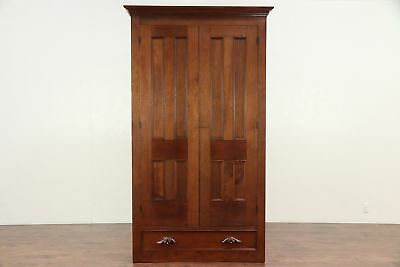 Victorian Antique Walnut Armoire, Wardrobe or Closet, Pantry Cupboard #29426