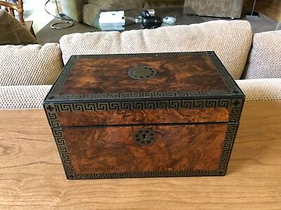 Antique Early 19th Century Burled Walnut and Ebony Fitted Tea Caddy Labeled