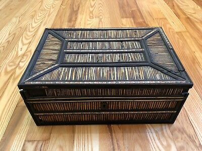 Antique C 1870s 19th Century Porcupine Quill Ebony Bone Fitted Sewing Box As Is