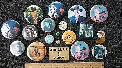 VTG mix pin button lot hopalong cassidy honor student  irish beatles retirement