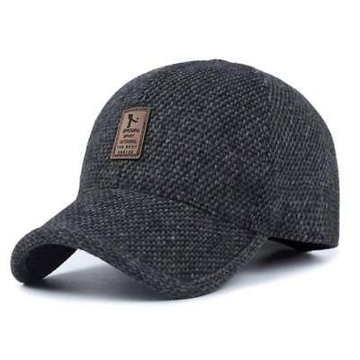 fd3ddcb21f6 Men s Winter Cap Wool Tweed Peaked Earflap Adjustable Strap Baseball Cap