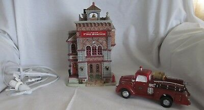 Sears Lemax  Union Fire Station lighted house with fire truck and cord