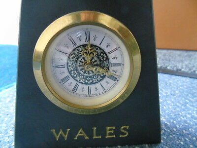 Wales Welsh Slate Clock With West German Movement & Set Of 6 Welsh Coasters