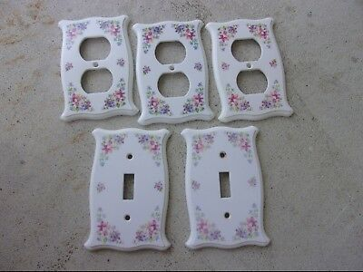 Vintage 1974 CSA Plastic Flowers Light Switch Cover Outlet Cover Lot Shabby Chic