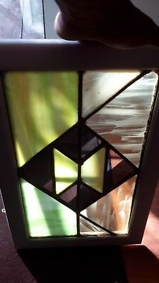 Antique Vintage Old Leaded Stained Glass /mirror Window Framed