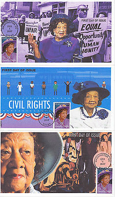 Jvc Cachets - 2017 Dorothy Height First Day Cover Fdc Black Heritage Set Of 3