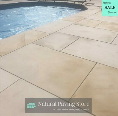 Ivory Mint sandstone Sawn Honed Patio Indian natural Paving Slabs 900 x 600