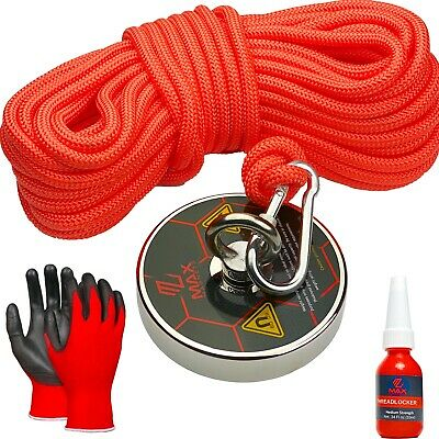 FISHING MAGNET + ROPE Up To 1200 LB Pull Force Super Strong Neodymium Kit