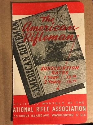 Vintage 1940's NRA Subscription Order Form For The American Rifleman Magazine