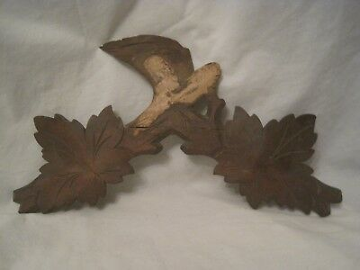 antique carved wood leaf leaves wooden clock part ? coo detail decorative top