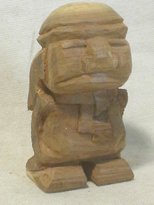 unique carved wood primitive sculpture figure wooden carving  man small statue