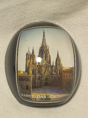 vintage BARCELONA - CATEDRAL souvenir Spain Church paperweight bubble *damaged