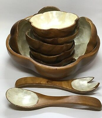 Capiz Shell Salad Bowl Set Tiki VTG Hawaii Luau Serving Dishes 11 Pc Monkey Pod