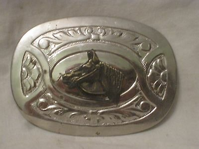 vintage horse belt buckle ornate equestrian Western Cowboy style U.S.A. Chambers