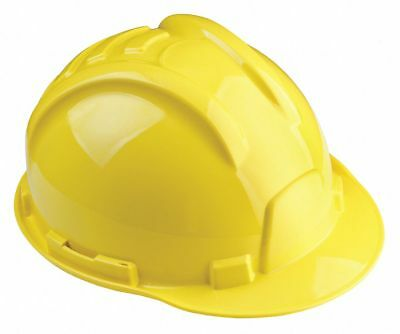 Front Brim Hard Hat, 6 pt. Ratchet Suspension, Yellow, Hat Size: 6 to 8-5/8